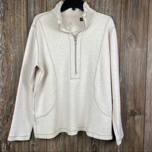 Tommy Bahama Mens Lg 1/4 Zip Polo Pullover Cream